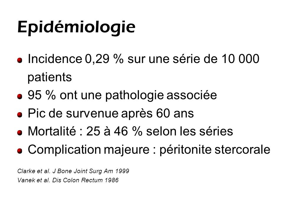 Epidémiologie Incidence 0,29 % sur une série de 10 000 patients