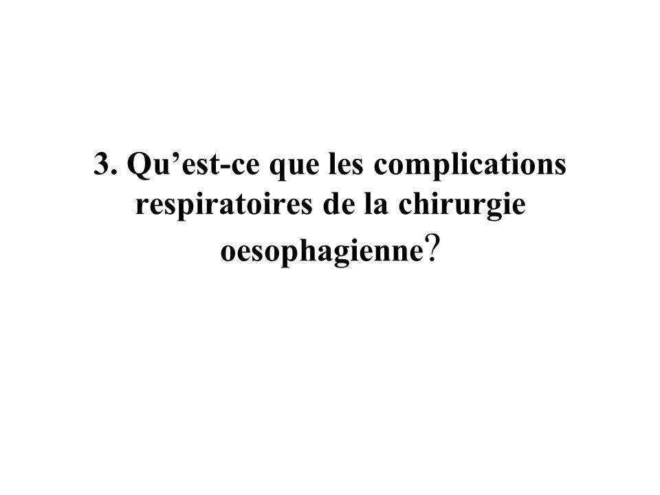 3. Qu'est-ce que les complications respiratoires de la chirurgie oesophagienne
