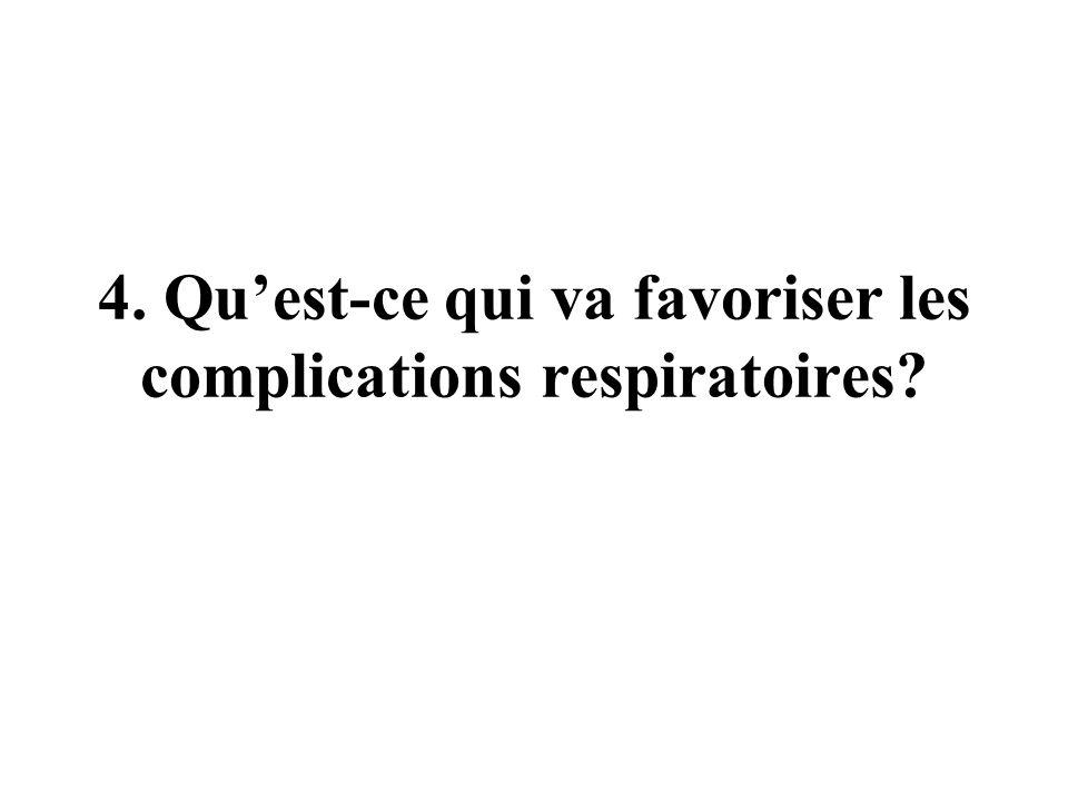 4. Qu'est-ce qui va favoriser les complications respiratoires