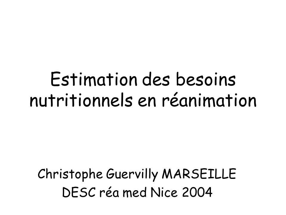 Estimation des besoins nutritionnels en réanimation