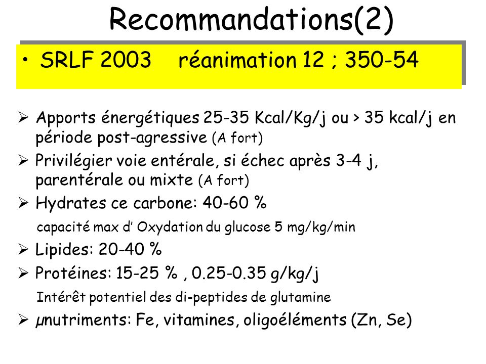 Recommandations(2) SRLF 2003 réanimation 12 ; 350-54
