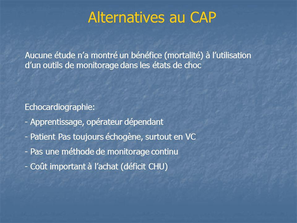Alternatives au CAP Aucune étude n'a montré un bénéfice (mortalité) à l'utilisation d'un outils de monitorage dans les états de choc.