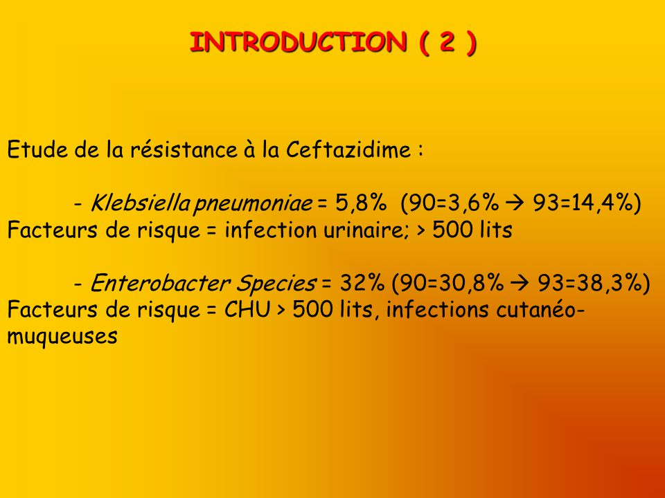 INTRODUCTION ( 2 ) Etude de la résistance à la Ceftazidime :