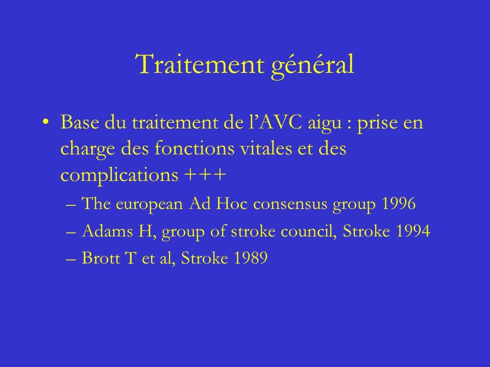 Traitement général Base du traitement de l'AVC aigu : prise en charge des fonctions vitales et des complications +++