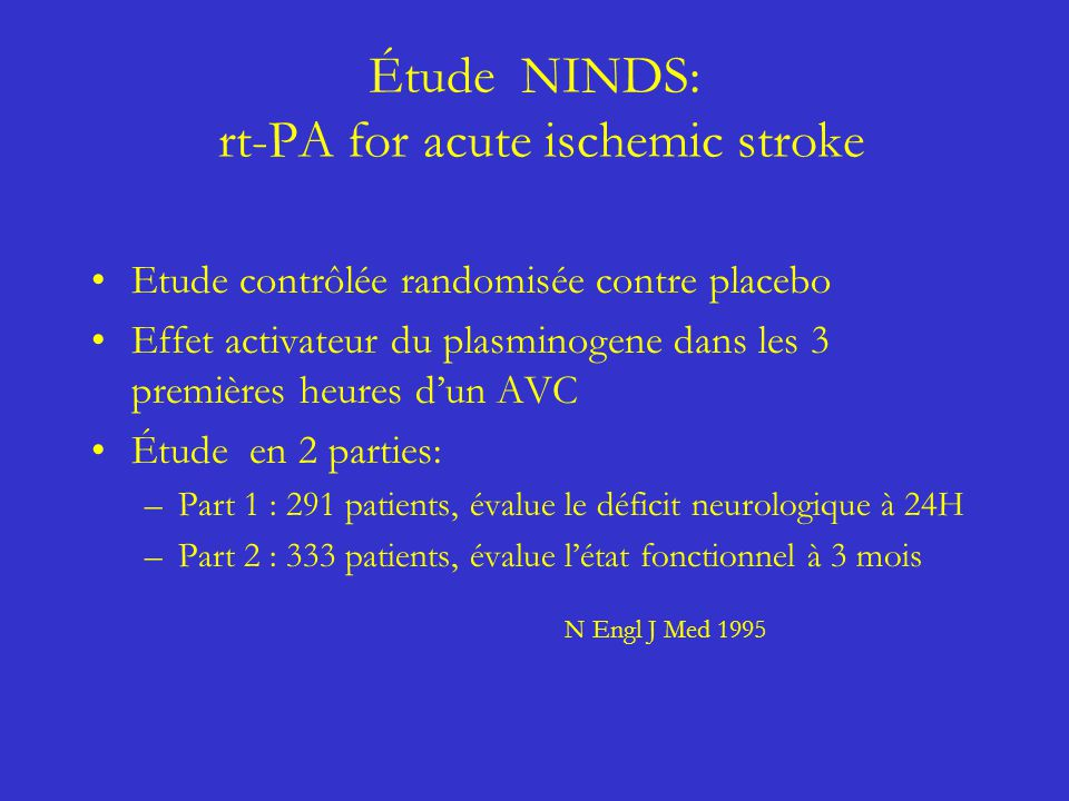 Étude NINDS: rt-PA for acute ischemic stroke