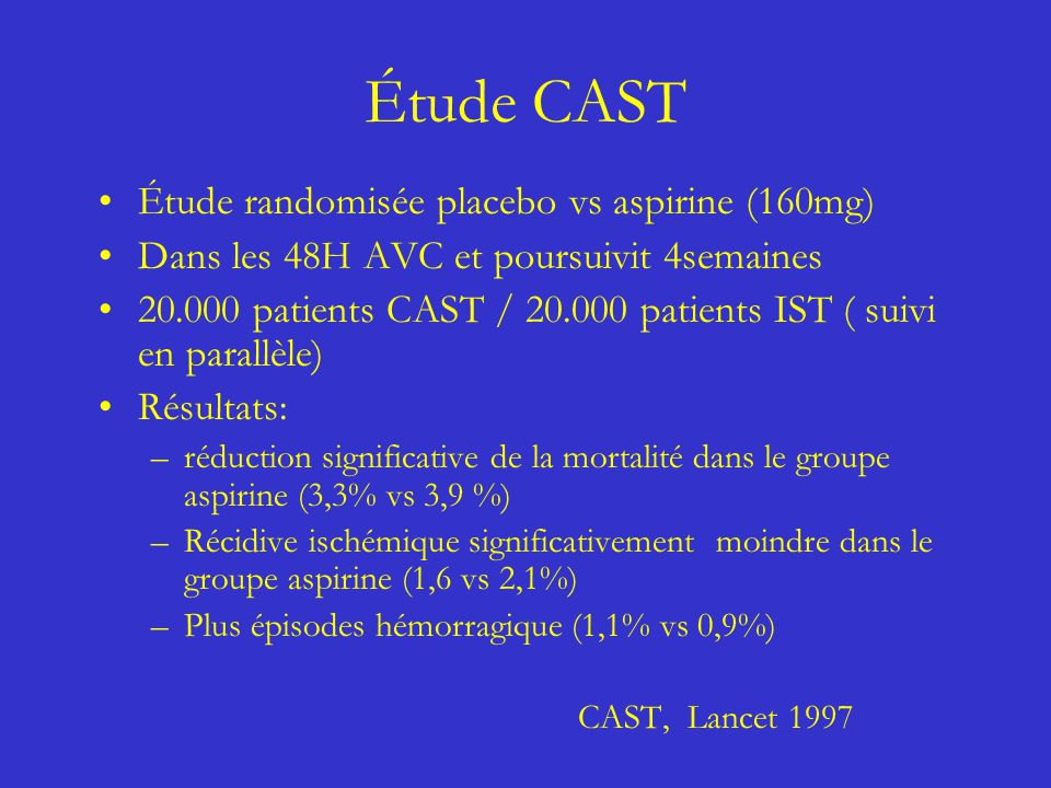 Étude CAST Étude randomisée placebo vs aspirine (160mg)