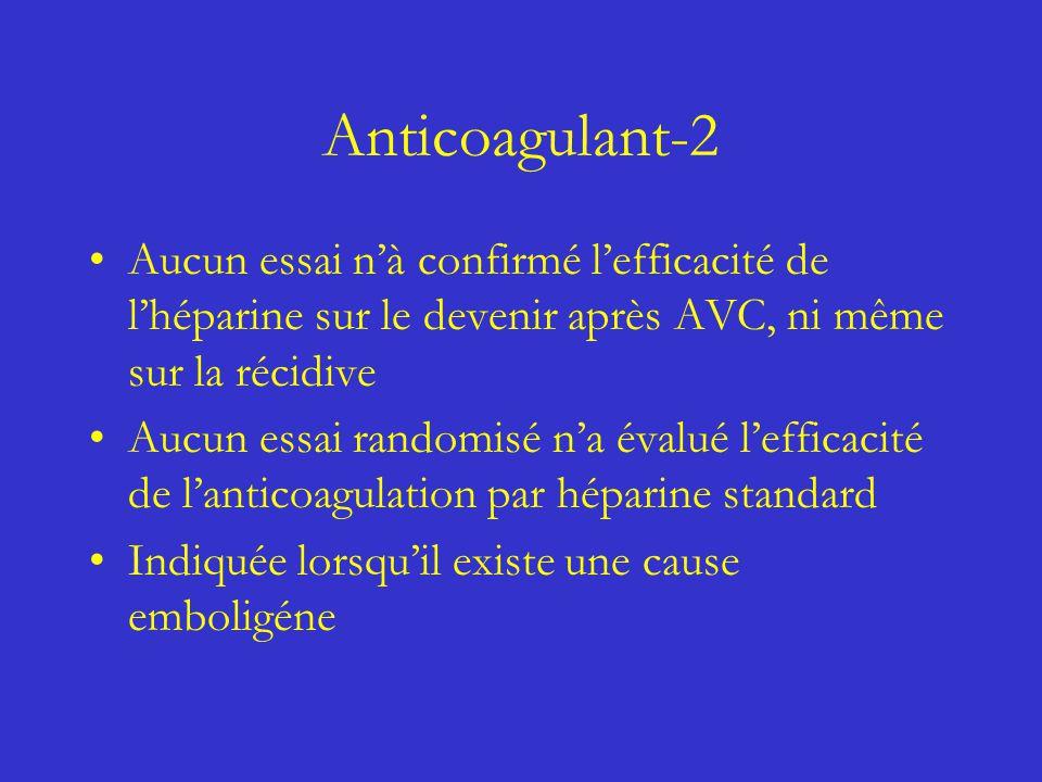 Anticoagulant-2 Aucun essai n'à confirmé l'efficacité de l'héparine sur le devenir après AVC, ni même sur la récidive.