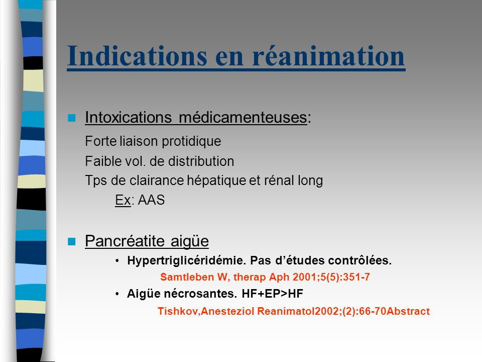 Indications en réanimation