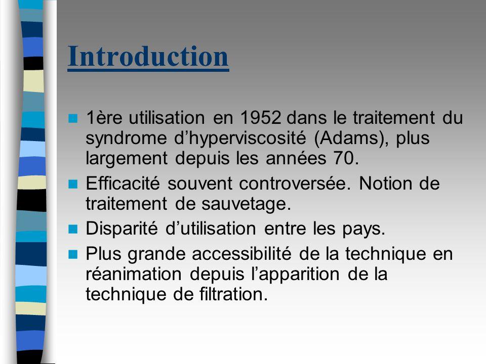 Introduction 1ère utilisation en 1952 dans le traitement du syndrome d'hyperviscosité (Adams), plus largement depuis les années 70.