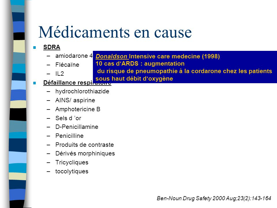 Médicaments en cause SDRA amiodarone 4 à 6% Flécaïne