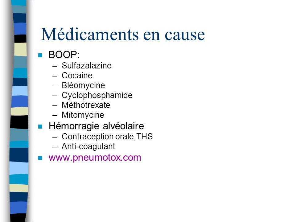 Médicaments en cause BOOP: Hémorragie alvéolaire www.pneumotox.com