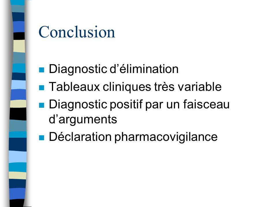Conclusion Diagnostic d'élimination Tableaux cliniques très variable