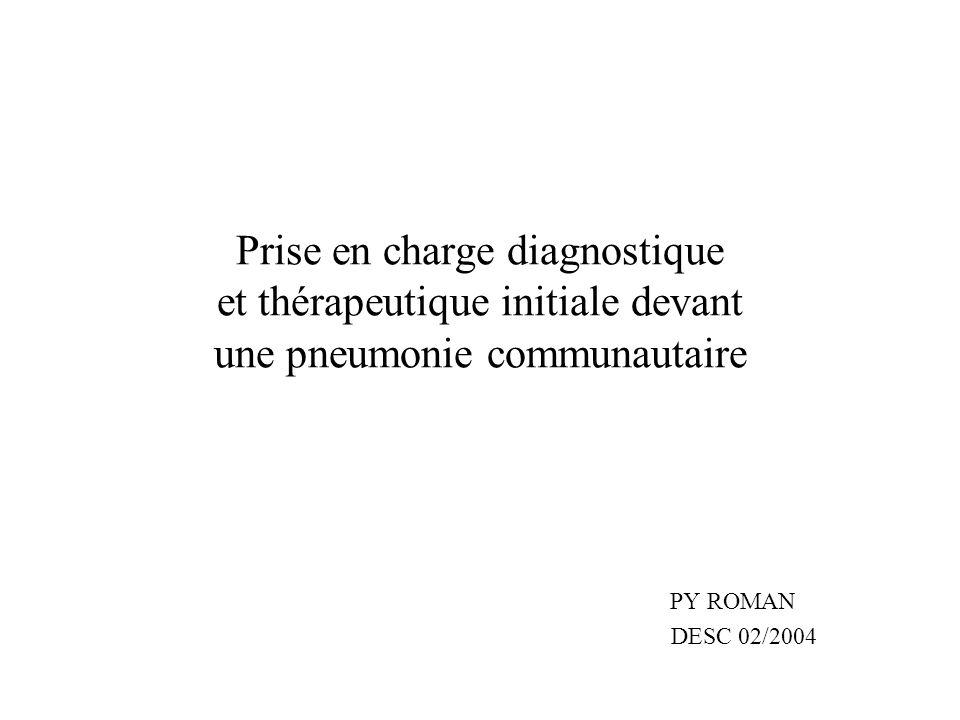 Prise en charge diagnostique et thérapeutique initiale devant une pneumonie communautaire