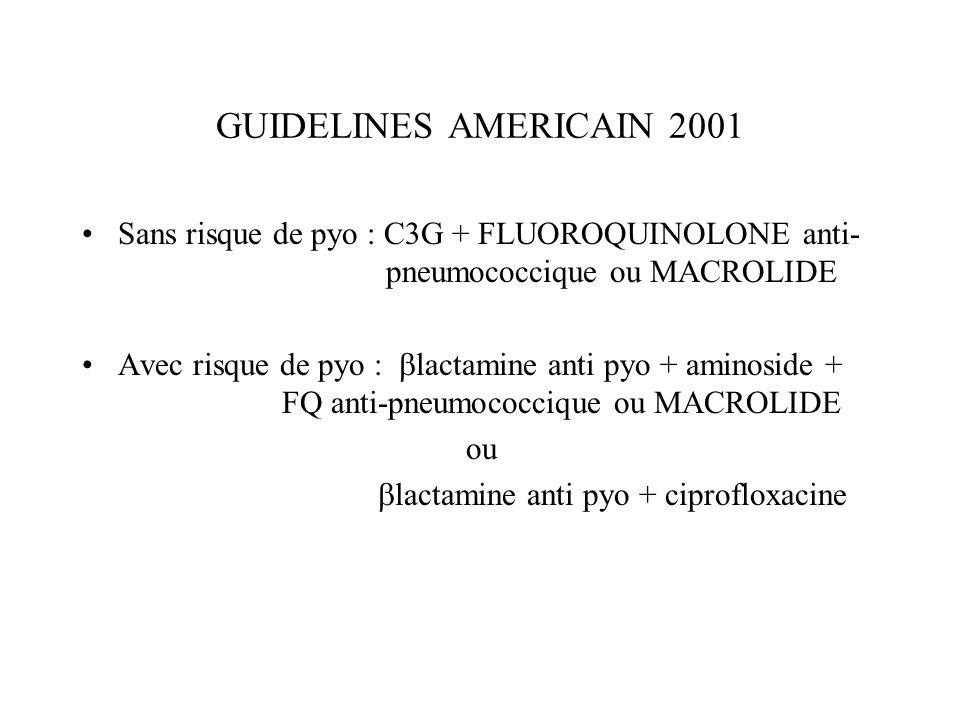 GUIDELINES AMERICAIN 2001 Sans risque de pyo : C3G + FLUOROQUINOLONE anti- pneumococcique ou MACROLIDE.