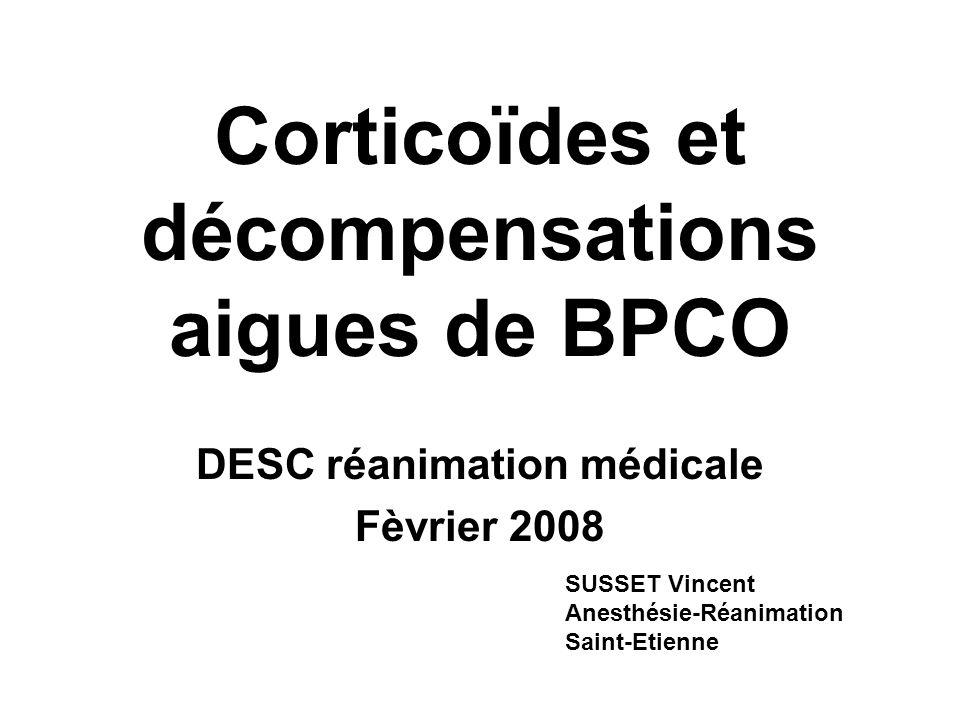 Corticoïdes et décompensations aigues de BPCO