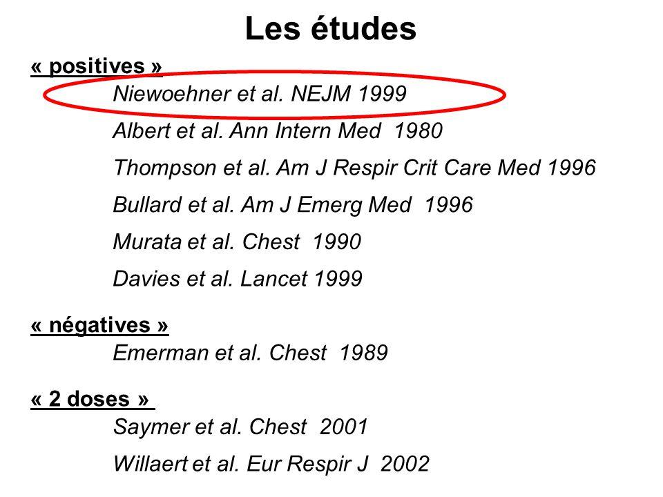Les études « positives » Niewoehner et al. NEJM 1999