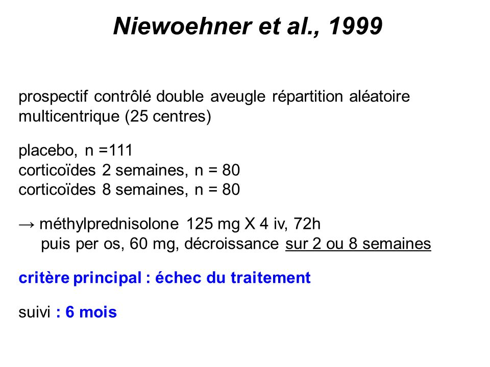 Niewoehner et al., 1999 prospectif contrôlé double aveugle répartition aléatoire. multicentrique (25 centres)
