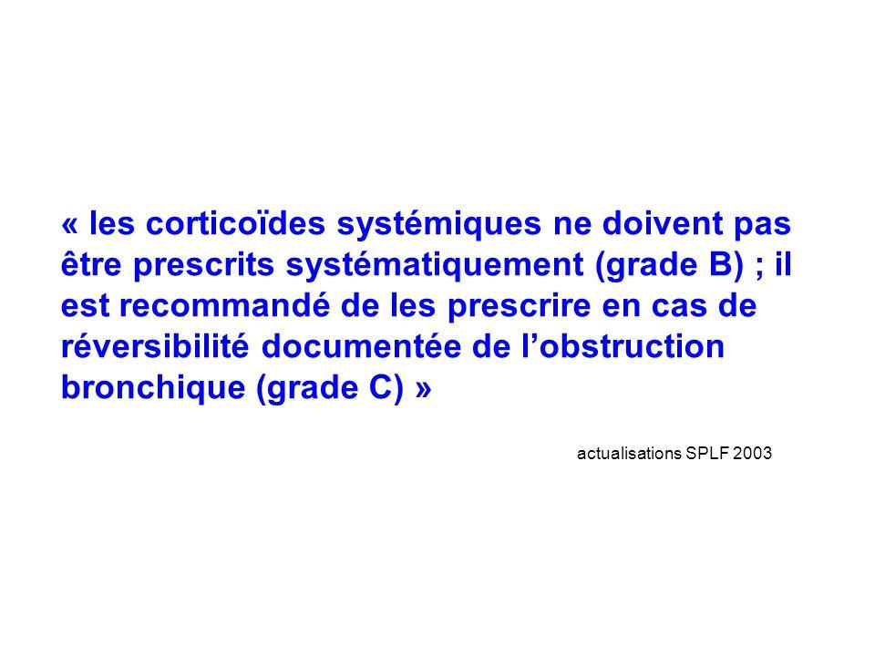 « les corticoïdes systémiques ne doivent pas être prescrits systématiquement (grade B) ; il est recommandé de les prescrire en cas de réversibilité documentée de l'obstruction bronchique (grade C) »