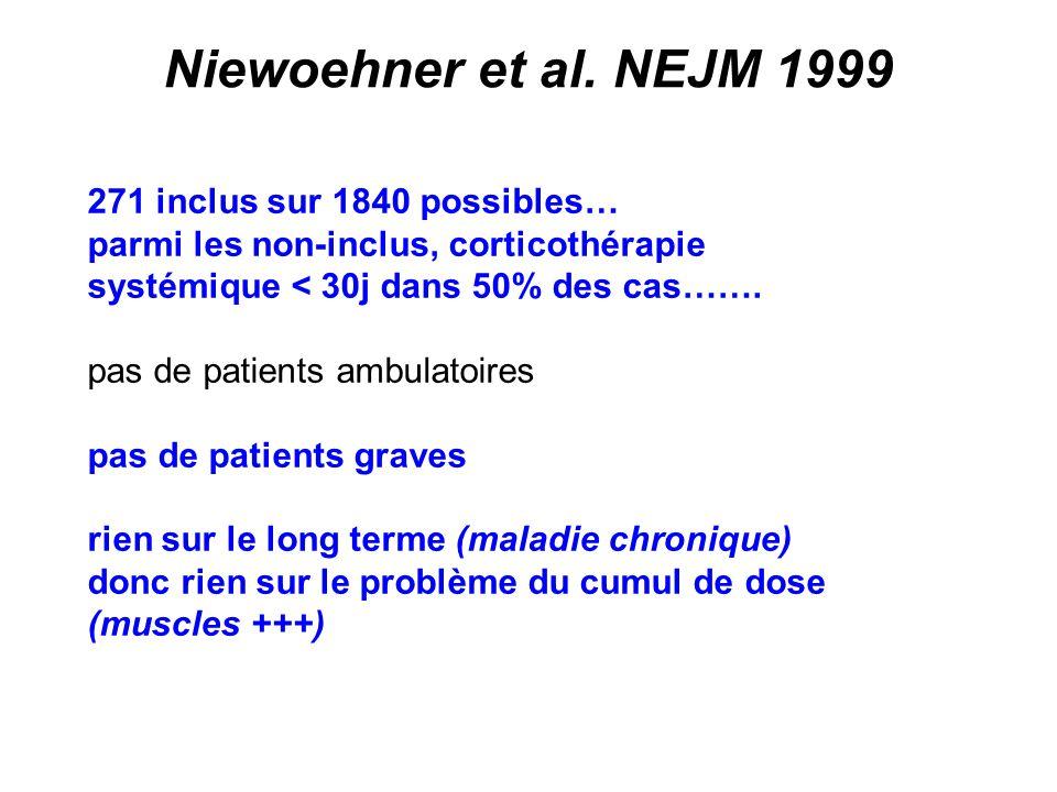 Niewoehner et al. NEJM 1999 271 inclus sur 1840 possibles…