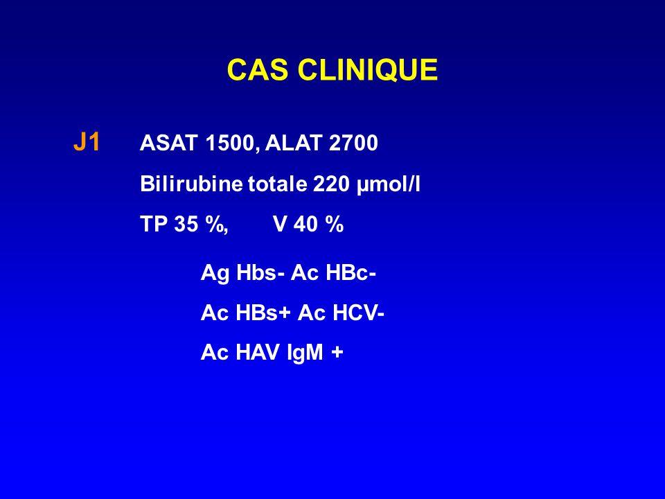 CAS CLINIQUE J1 ASAT 1500, ALAT 2700 Bilirubine totale 220 µmol/l