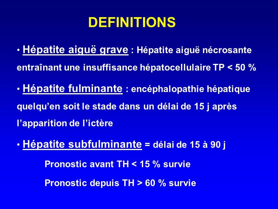 DEFINITIONS Hépatite aiguë grave : Hépatite aiguë nécrosante entraînant une insuffisance hépatocellulaire TP < 50 %