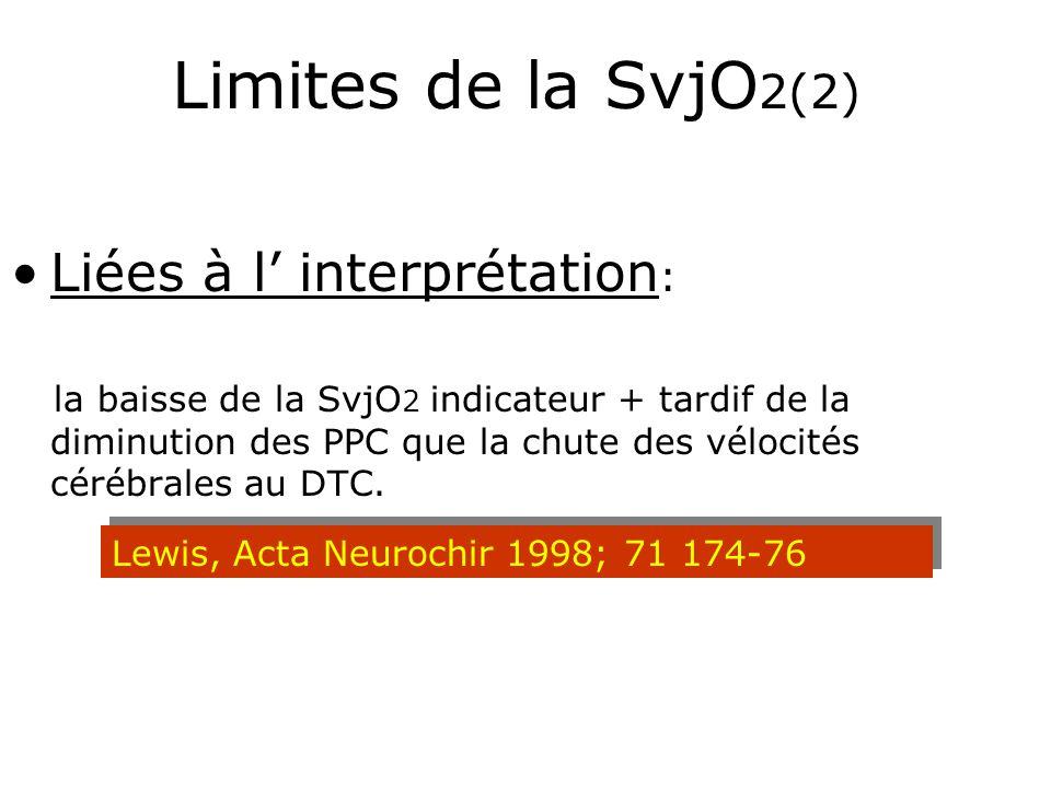 Limites de la SvjO2(2) Liées à l' interprétation: