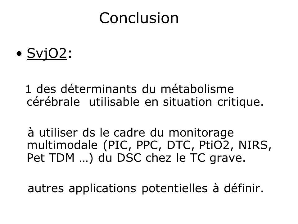 Conclusion SvjO2: 1 des déterminants du métabolisme cérébrale utilisable en situation critique.