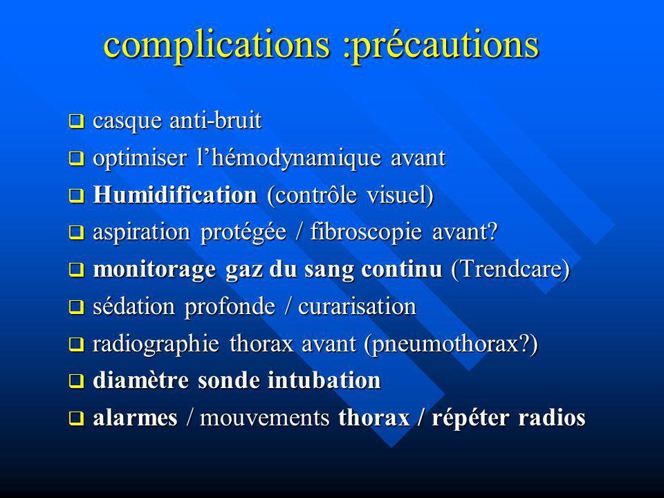 complications :précautions