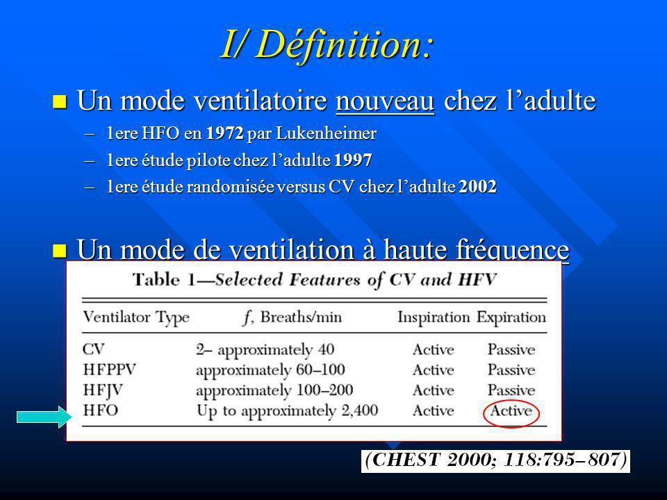 I/ Définition: Un mode ventilatoire nouveau chez l'adulte