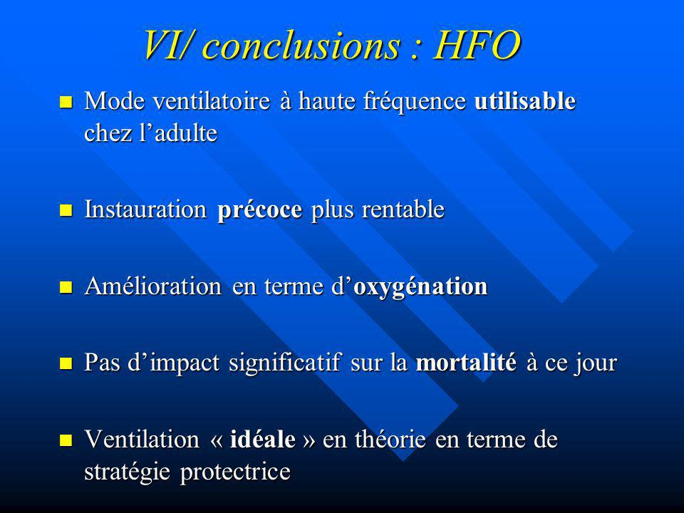 VI/ conclusions : HFO Mode ventilatoire à haute fréquence utilisable chez l'adulte. Instauration précoce plus rentable.