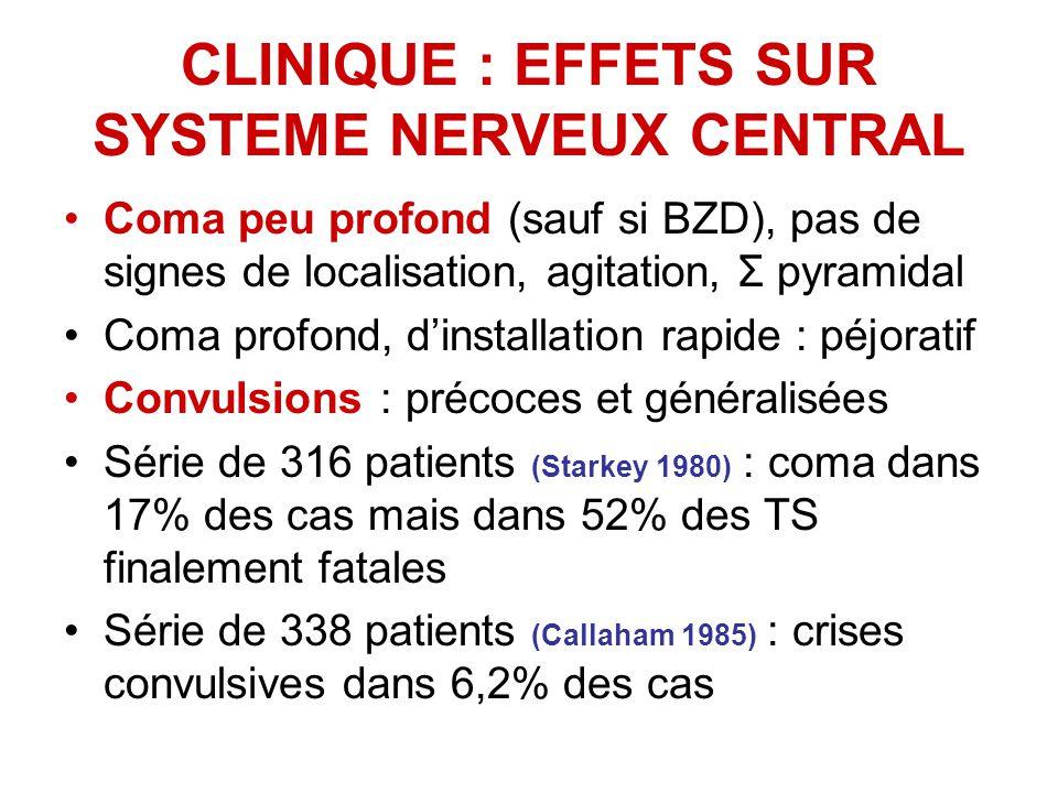 CLINIQUE : EFFETS SUR SYSTEME NERVEUX CENTRAL