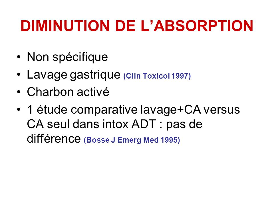 DIMINUTION DE L'ABSORPTION
