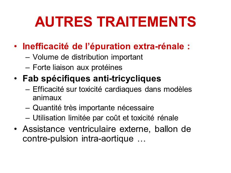 AUTRES TRAITEMENTS Inefficacité de l'épuration extra-rénale :