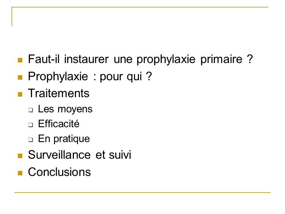 Faut-il instaurer une prophylaxie primaire Prophylaxie : pour qui