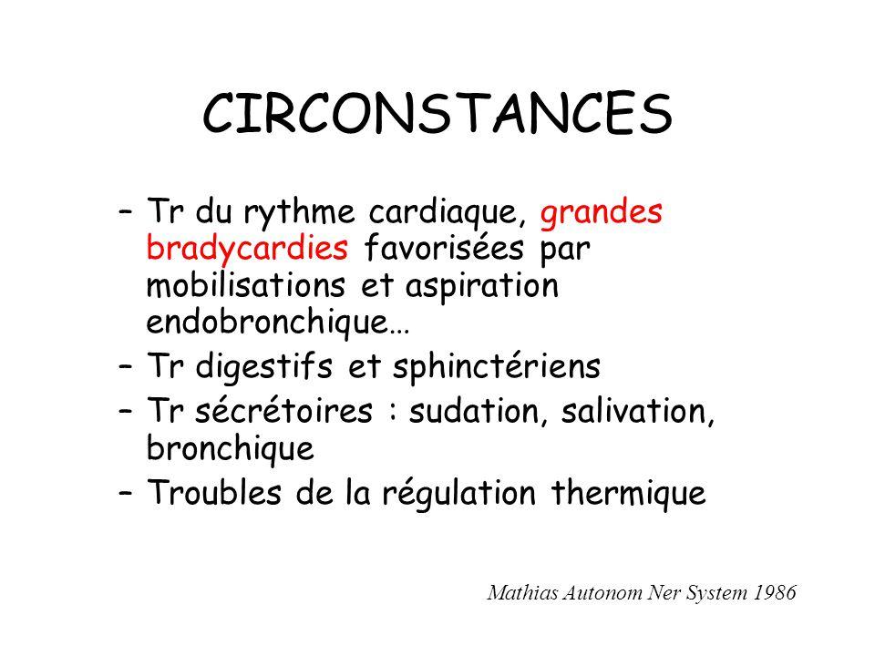 CIRCONSTANCES Tr du rythme cardiaque, grandes bradycardies favorisées par mobilisations et aspiration endobronchique…