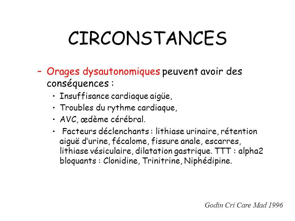 CIRCONSTANCES Orages dysautonomiques peuvent avoir des conséquences :