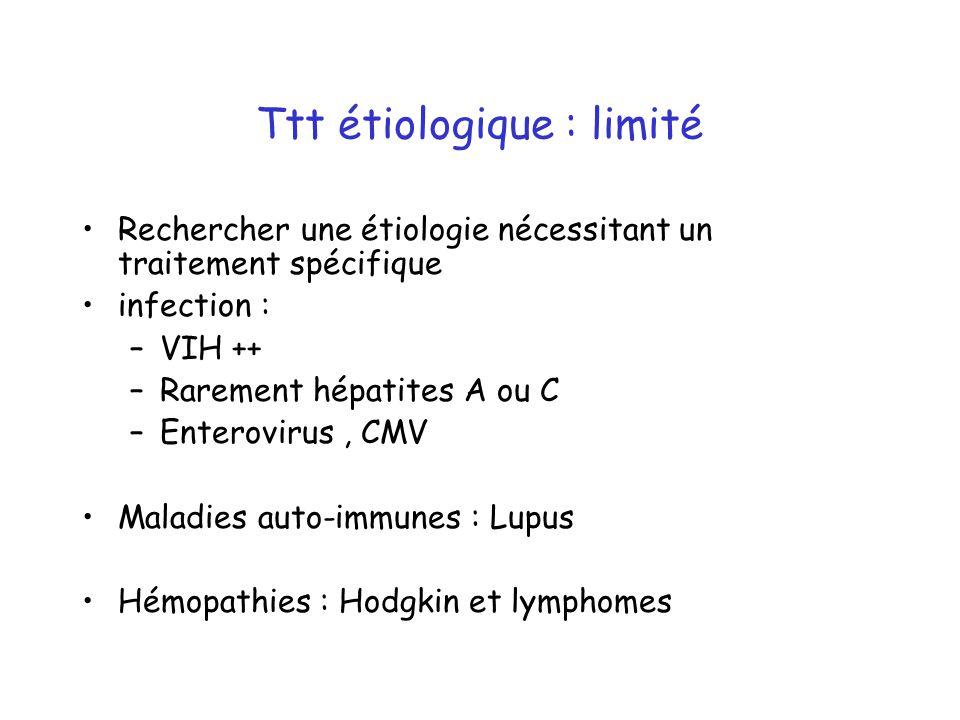 Ttt étiologique : limité