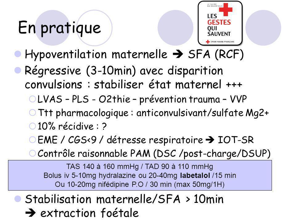 En pratique Hypoventilation maternelle  SFA (RCF)