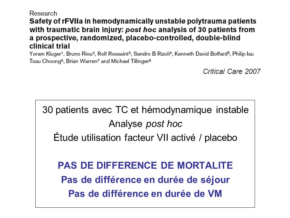 30 patients avec TC et hémodynamique instable Analyse post hoc
