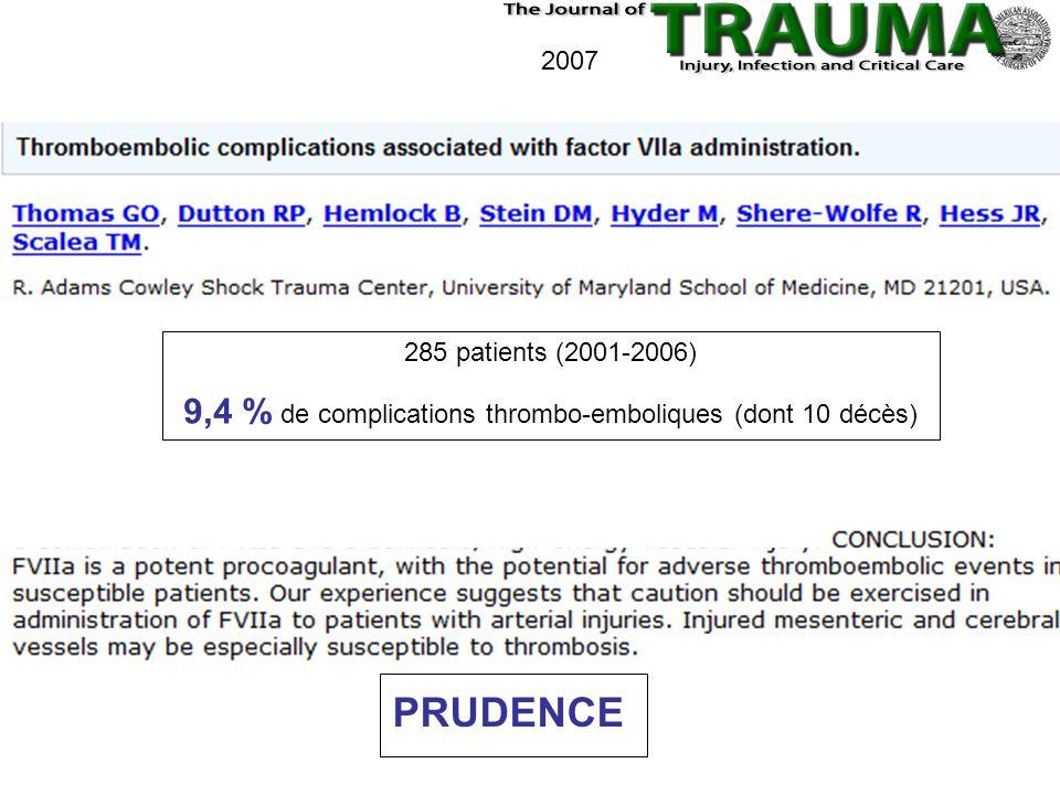 9,4 % de complications thrombo-emboliques (dont 10 décès)