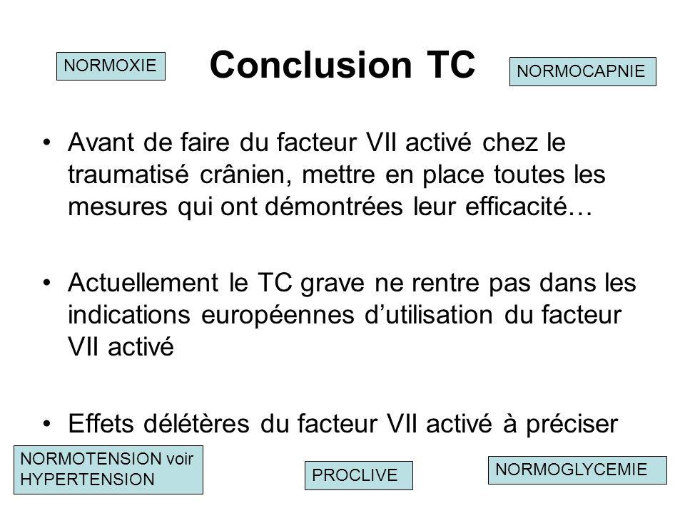 Conclusion TC NORMOXIE. NORMOCAPNIE.