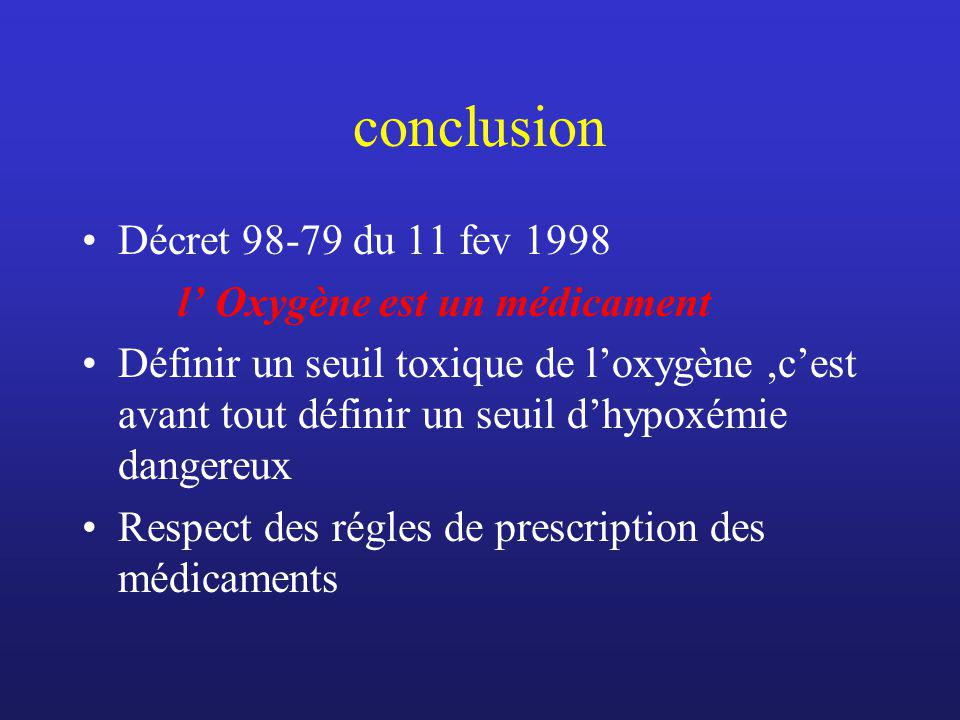conclusion Décret 98-79 du 11 fev 1998 l' Oxygène est un médicament