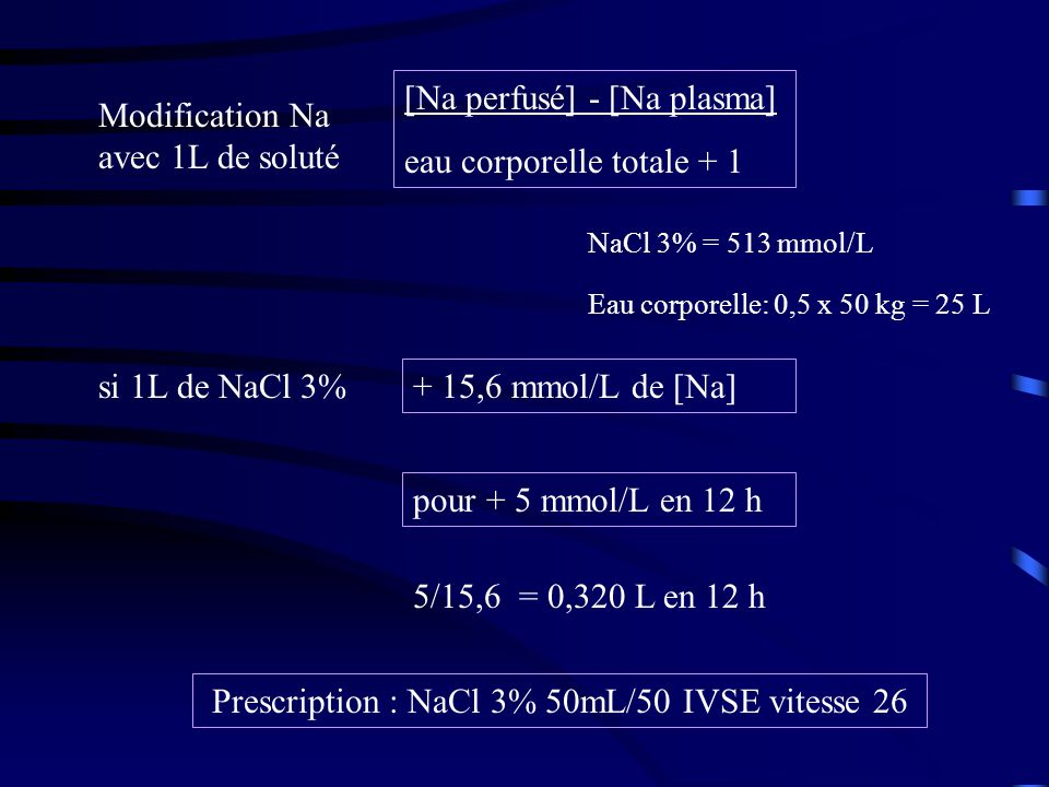 Prescription : NaCl 3% 50mL/50 IVSE vitesse 26