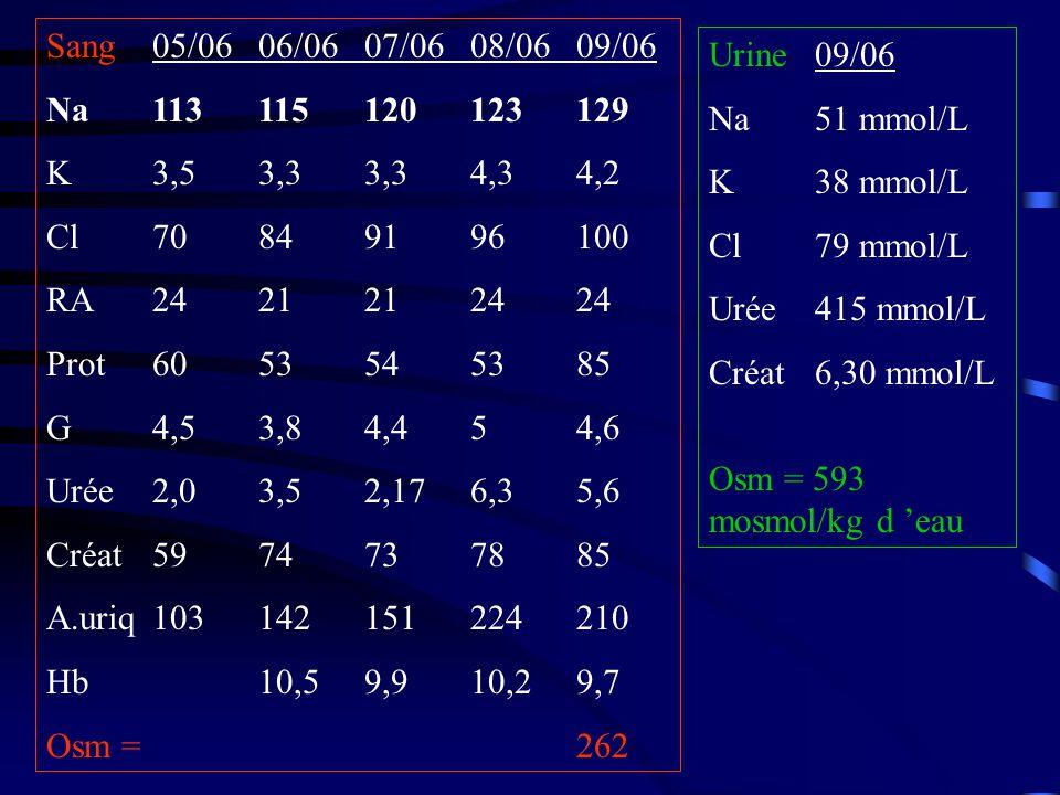 Sang 05/06 06/06 07/06 08/06 09/06 Na 113 115 120 123 129. K 3,5 3,3 3,3 4,3 4,2. Cl 70 84 91 96 100.