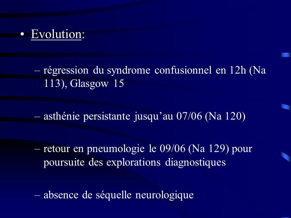 Evolution: régression du syndrome confusionnel en 12h (Na 113), Glasgow 15. asthénie persistante jusqu'au 07/06 (Na 120)
