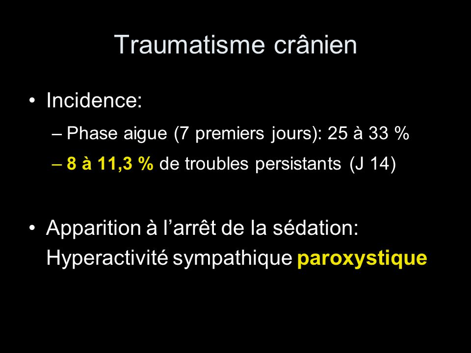 Traumatisme crânien Incidence: