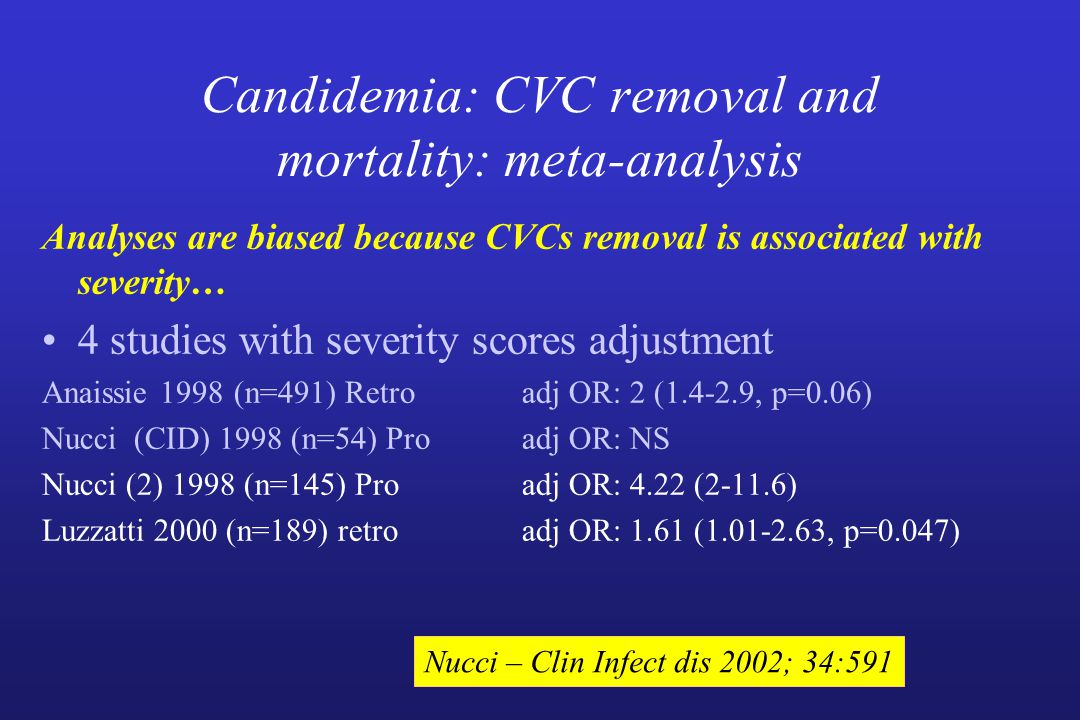 Candidemia: CVC removal and mortality: meta-analysis