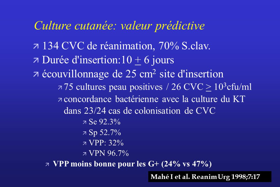 Culture cutanée: valeur prédictive
