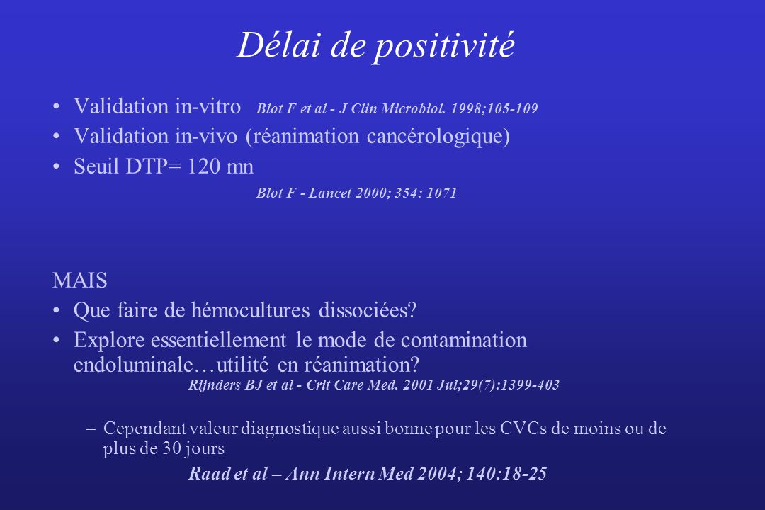 Délai de positivité Validation in-vitro Blot F et al - J Clin Microbiol. 1998;105-109. Validation in-vivo (réanimation cancérologique)