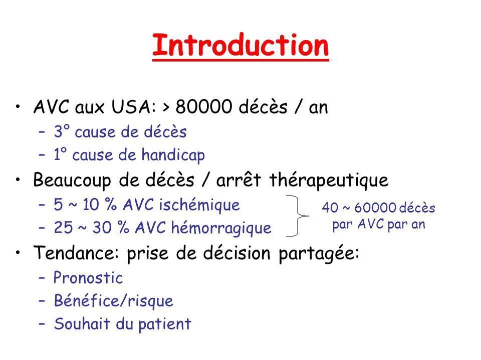 Introduction AVC aux USA: > 80000 décès / an